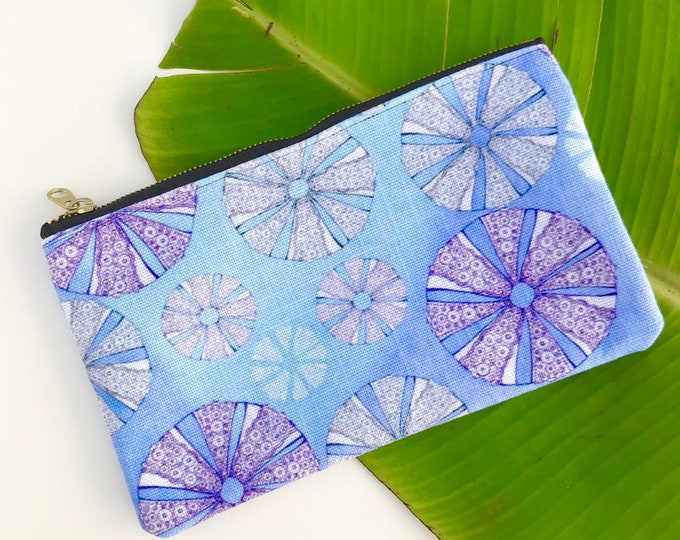 pencil case medium zipper pouch sea urchin tropical print