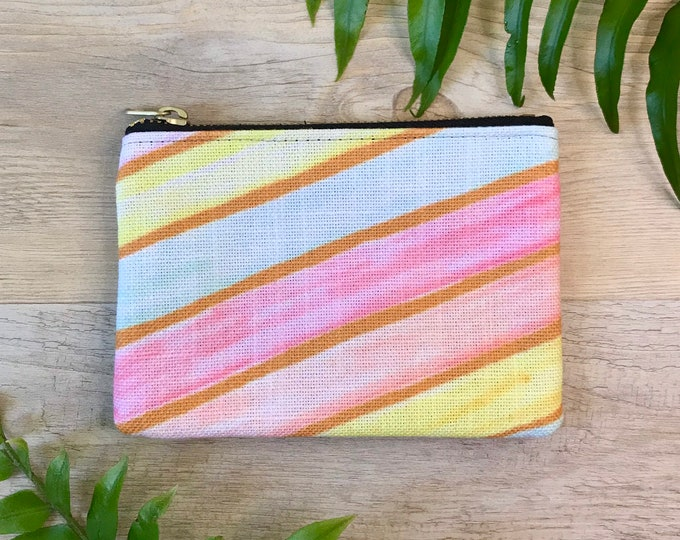 small coin purse / zipper pouch retro stripes