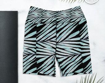 Biker Shorts, High waist Yoga Shorts, Biker Short Outfit , Black Palm Leaf Print