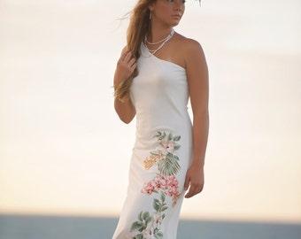 Blush Pink One Shoulder Beach Wedding Dress