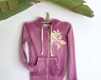 Hoddie Jacket Super Soft Purple Tropical Flowers