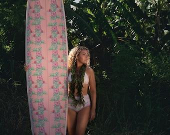 Custom Fabric Inlay Surfboard longboard Blush Pink Coral Tropical Flowers