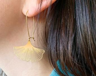 Ginkgo Biloba Leaf Earrings | Brass | ATL-E-133