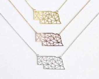 Nebraska Geometric Necklace | Brass | Small | ATL-N-000