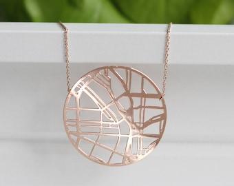 Portland Oregon Map Necklace | Rose Gold | ATL-N-165-R