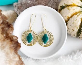 Art Deco Circle Earrings with Vintage Teal Diamond Beads