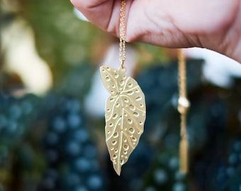 Polka Dot Begonia Leaf Necklace