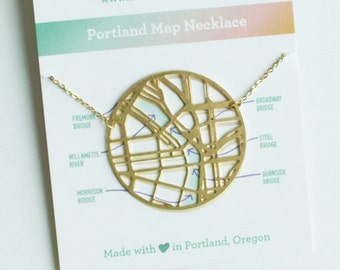 Portland Oregon Map Necklace | Brass | ATL-N-165