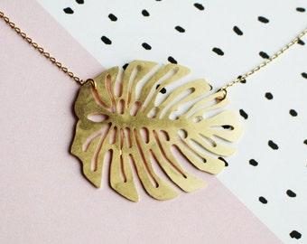 Monstera Deliciosa Leaf Necklace | Brass | ATL-N-169