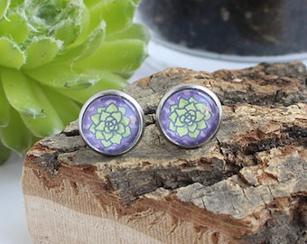 Hens and Chicks Succulent Plant Illustrated Earrings | ATL-E-SUC