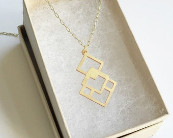 Overlapping Diamonds Necklace | ATL-N-125