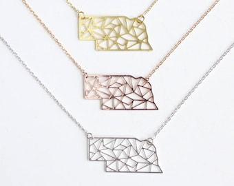 Nebraska Geometric Necklace | Rose Gold | Small | ATL-N-000-R