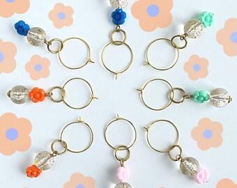 Limited Edition Flower & Acrylic Clear Glitter Bead Hoop Earrings
