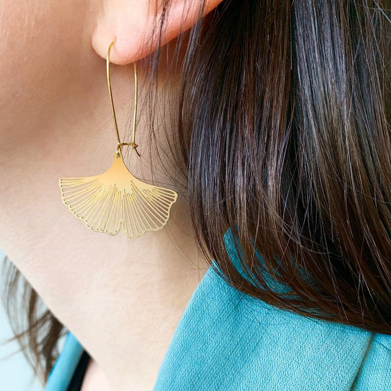 BIG Ginkgo Bilbao 925 Silver Fan-Shaped Ear Hook Dangle Drop Two-tone Earrings