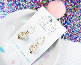 Limited Edition Acrylic Clear Glitter Bead & Raindrop Earrings