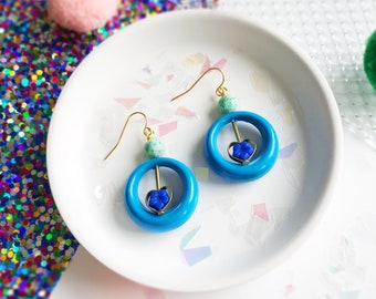 Limited Edition Blue Wand Earrings with Vintage Beads