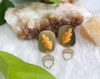 Limited Edition Lucite Orange Autumn Leaf Earrings