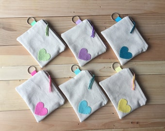 Teal Heart Coin Purse, Easter Gift, Zipper ID Case, Small Zipper Pouch, Cotton Coin Purse, Spring Zipper Pouch, Easter Basket, Coin pouch