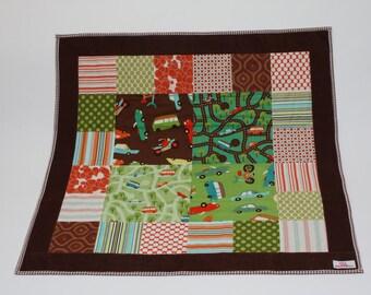 Gingham Baby Quilt, Baby Blanket, Transportation Blanket, Gingham Quilt, Cars Baby Decor, Cotton Baby Blanket, Stroller Blanket,