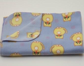 Fleece Baby Blanket - Happy Kitties Print