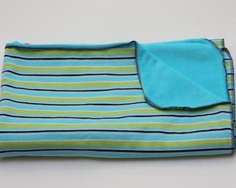 Velour Baby Blanket - Blue/Green Stripes