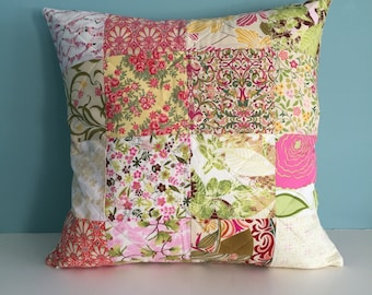 """Spring Floral Pillow Cover, 18"""" Pillow Cover, Patchwork Pillow Cover, Spring Decor, Spring Pillow, Quilted Pillow Cover, Pink Yellow Floral"""