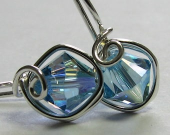 Earrings Blue Aquamarine Swarovski Crystal Sterling Silver Earrings Comfortable One Piece Wire Wrapped Drop