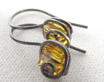 Tiny Earrings Sunflower Yellow Swarovski Crystal Wire Wrapped Sterling Silver Earrings Choice of Shiny or Oxidized