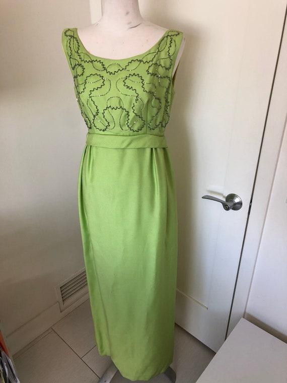 Chartreuse Beaded Bodice 60's Dress