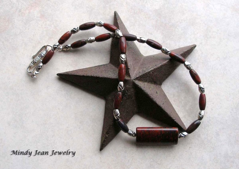 Poppy Jasper Necklace Red Gemstone Necklace Gemstone Bead Necklace LOVE ME KNOT