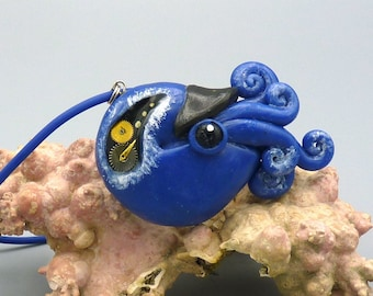 Time Nautilus Necklace, Polymer Clay Jewelry