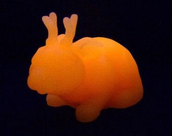 Glowing Orange Jackalope - Resin Creature Sculpture