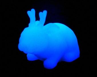 Glowing White Jackalope - Resin Creature Sculpture