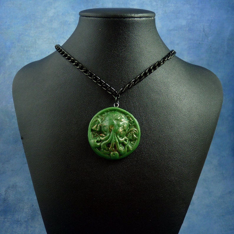 Green Small Cthulhu Cameo Necklace with Chain Polymer Clay image 0