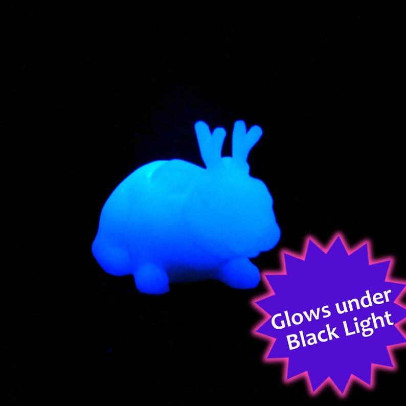Glowing White Jackalope  Resin Creature Sculpture image 0