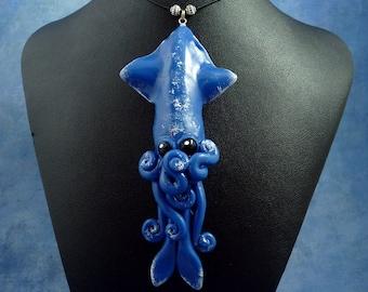 Night Sky Squid Necklace, Polymer Clay Squid Jewelry