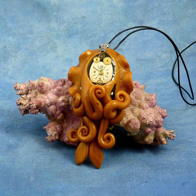 Brass Steampunk Cuttlefish Necklace Clockwork Cephalopod image 0