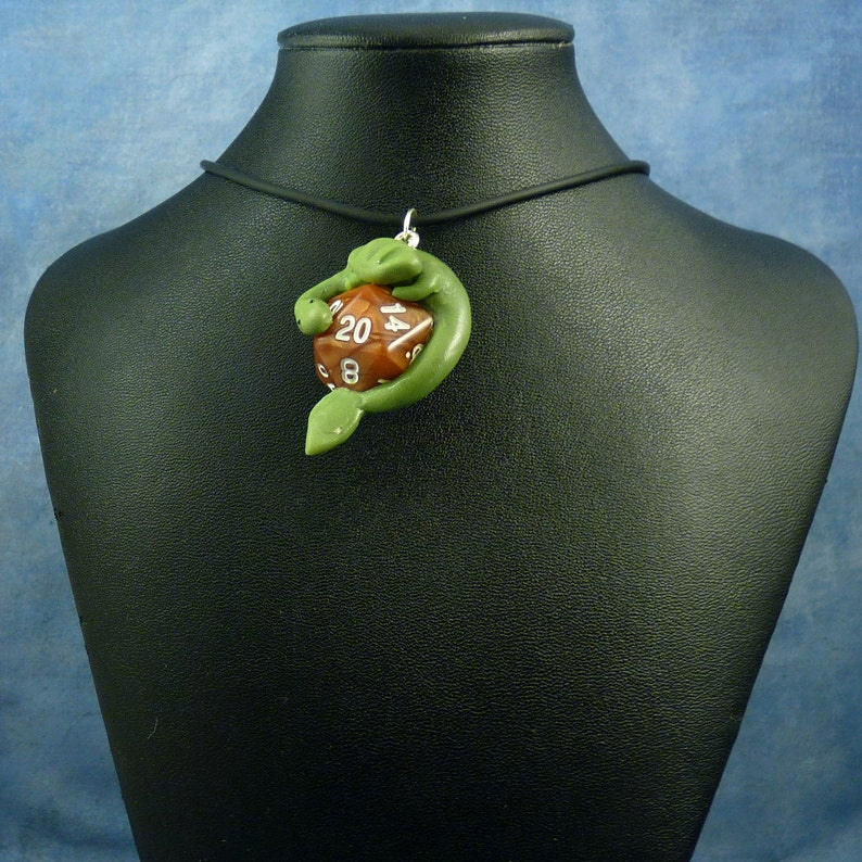Green and Bronze Dicekeeper Dragon Necklace  D20 Pendant image 0