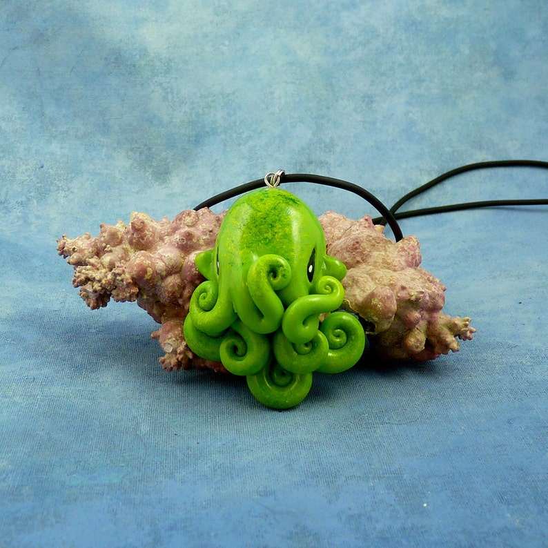Green Moss Octopus Necklace Handmade Polymer Clay Jewelry image 0