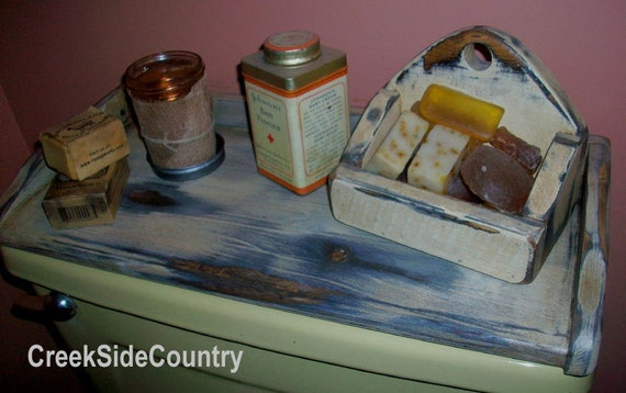 PRIMITIVE Wood Toilet Tank Cover Top Tray ANY COLOR
