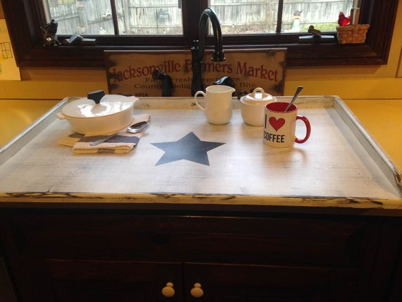 Extra Large - Kitchen Sink Cover or STOVE TOP BOARD white shabby chic with  black star
