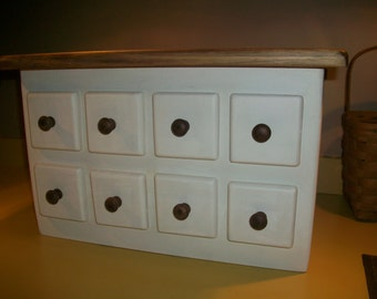 Pure White with Stained Top and Knobs Wood Toaster Cover