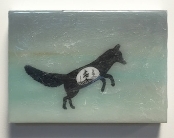 Fox Silhouette - Original Painting with Layered Resin - Spirit Animals of the Forest - fox with trees