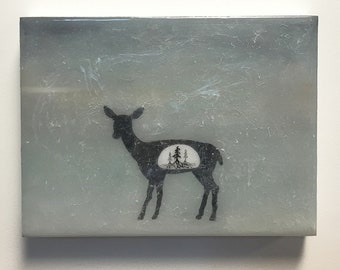 Spirit Animals of the Forest - Doe - original painting with layers of resin, deer silhouette with tiny trees