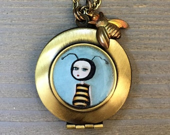 Bee Necklace - Bee Girl Locket by painter Cagey Bee, cute bee charm jewelry, beekeeper gifts to save the bees!