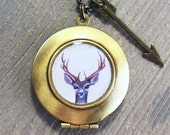 Deer Locket - antler neck...