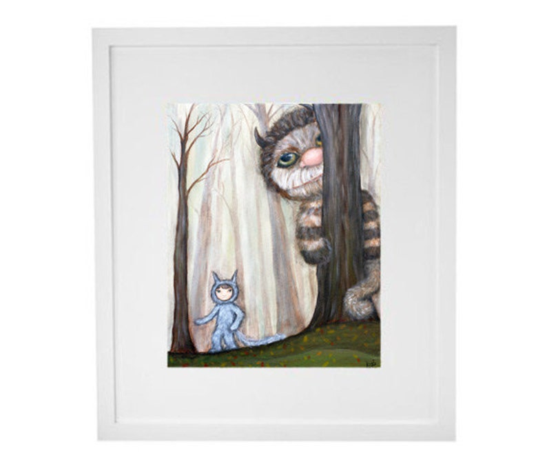 Kids Room Wall Art  Wild Things in the Woods giclee print image 0