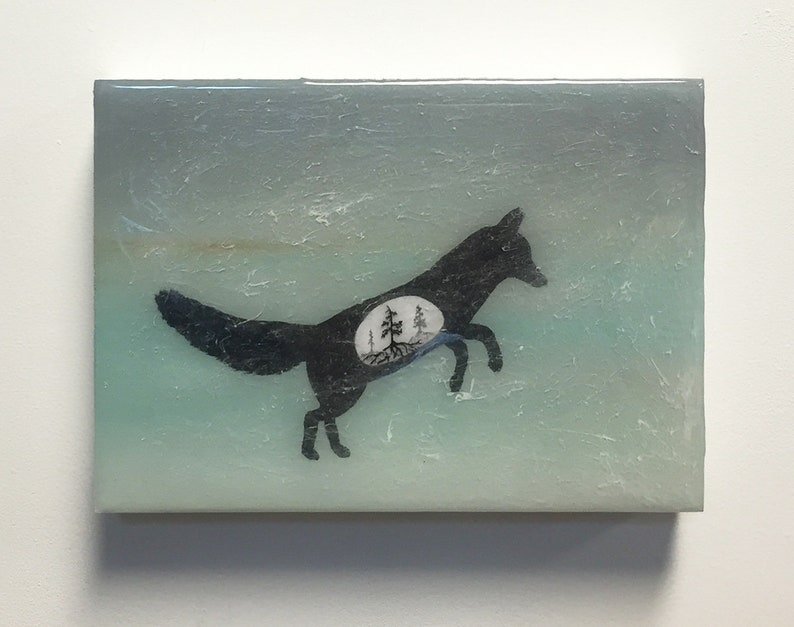 Fox Silhouette  Original Painting with Layered Resin  Spirit image 0