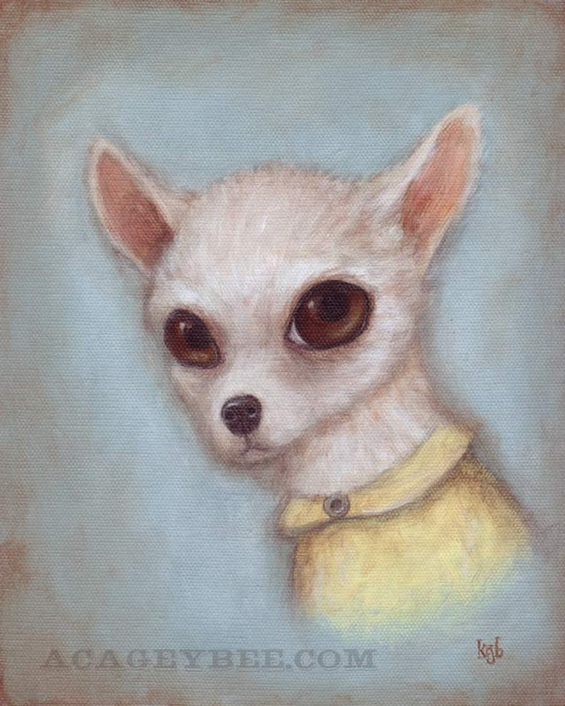 Dog Art  Elroy 8x10 cute art print of Chihuahua dog pet image 0