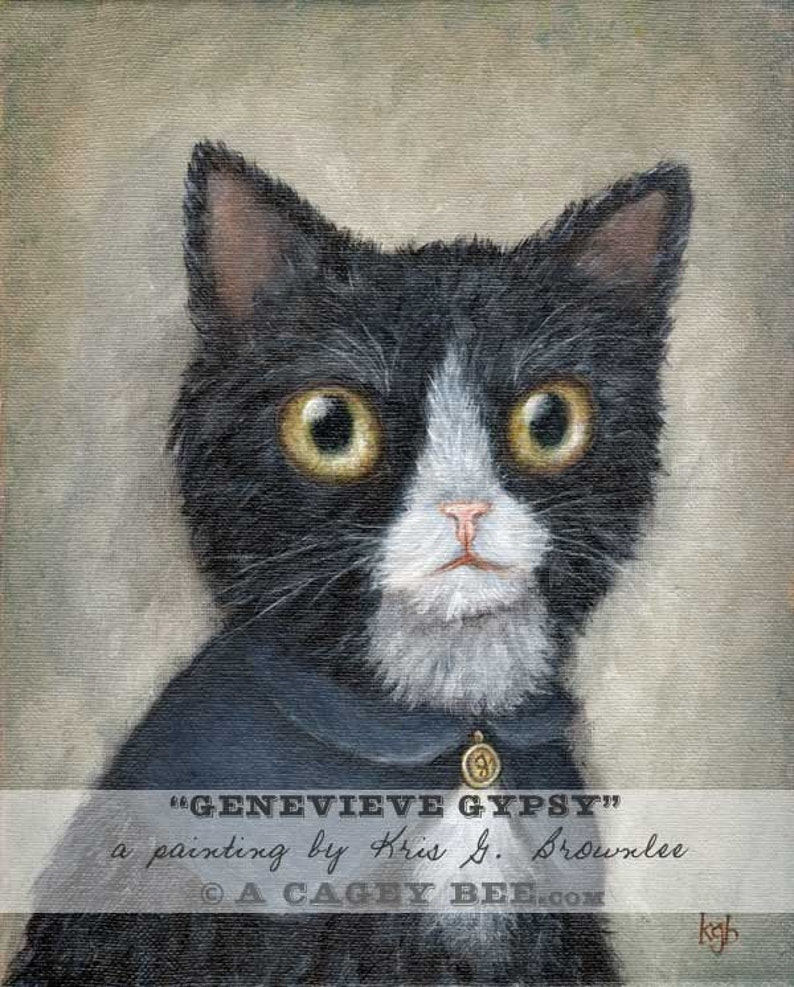 Genevieve Gypsy  cat art giclee print from animal portrait of image 0